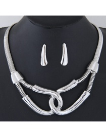 Fashion Silver Color Buckle Shape Decorated Simple Jewelry Set