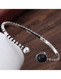 Fashion Silver Color Ball Shape Decorated Opening Bracelet