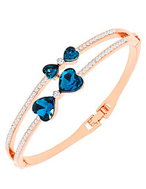 Fashion Sapphire Blue Heart Shape Decorated Simple Bracelet