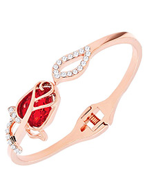 Fashion Red Diamond Decorated Simple Bracelet