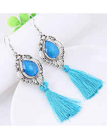 Fashion Blue Tassel Decorated Water Drop Shape Earrings