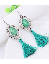 Fashion Green Tassel Decorated Water Drop Shape Earrings