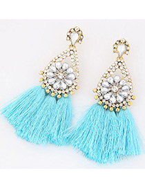 Fashion Light Blue Diamond&tassel Decorated Simple Earrings