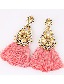 Fashion Pink Diamond&tassel Decorated Simple Earrings