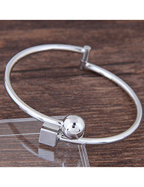 Fashion Silver Color Round Ball Decorated Pure Color Bracelet