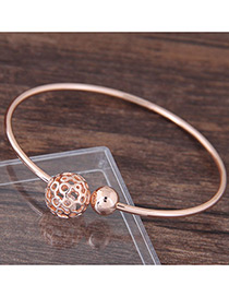 Fashion Rose Gold Round Ball Decorated Hollow Out Bracelet