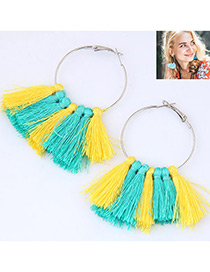 Trendy Yellow+blue Circular Ring&tassel Decorated Simple Earrings