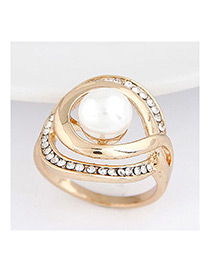 Sweet Gold Color Pearls&diamond Decorated Hollow Out Ring