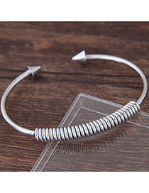 Sweet Silver Color Springs Shape Decorated Pure Color Bracelet