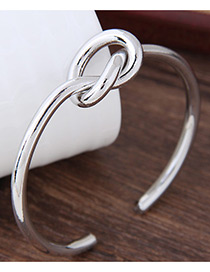 Elegant Silver Color Cross Shape Decorated Pure Color Bracelet