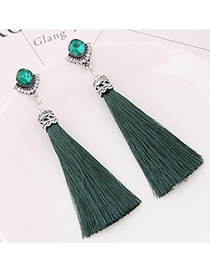 Bohemia Green Tassel Decorated Earrings