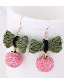 Elegant Green+pink Bowknot Shape Decorated Earrings