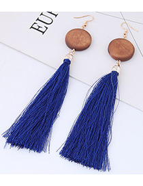 Elegant Sapphire Blue Tassel Decorated Earrings