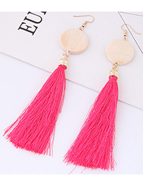 Elegant Plum Red Tassel Decorated Earrings