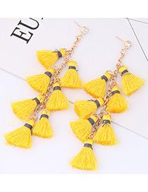 Elegant Yellow Tassel Decorated Earrings
