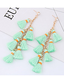 Elegant Light Green Tassel Decorated Earrings