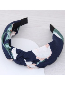 Fashion Dark Blue Flower Pattern Decorated Hair Hoop