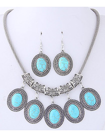 Fashion Blue Oval Shape Gemstone Decorated Jewelry Sets