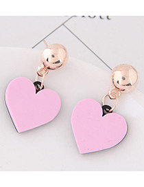 Sweet Pink Heart Shape Decorated Simple Earrings