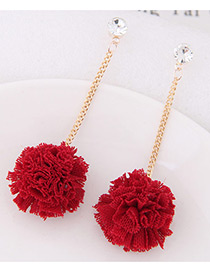 Sweet Red Flower Pendant Decorated Long Earrings