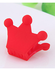 Lovely Red Crown Shape Decorated Pure Color Hair Claw