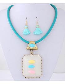 Trendy Blue Tassel&gemstone Decorated Jewelry Sets