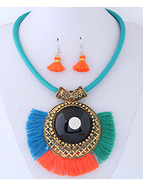 Trendy Green+orange Tassel Decorated Sector Shape Jewelry Sets