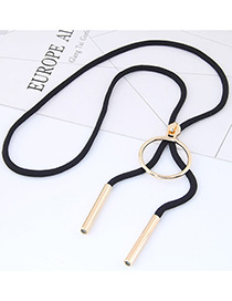Trendy Black Round Shape Decorated Simple Necklace
