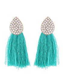 Bohemia Green Oval Shape Decorated Tassel Earrings