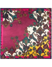 Fashion Purple Cashew Nuts Pattern Decorated Square Shape Scarf