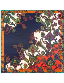 Fashion Navy Cashew Nuts Pattern Decorated Square Shape Scarf
