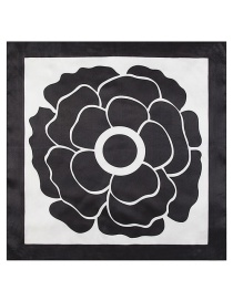 Fashion Black Flower Pattern Decorated Simple Scarf