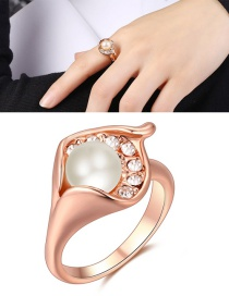 Elegant Rose Gold Round Shape Decorated Ring #6