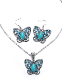 Vintage Blue Butterfly Shape Decorated Jewelry Sets