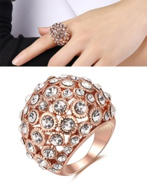 Elegant Rose Gold Round Shape Decorated Hollow Out Ring