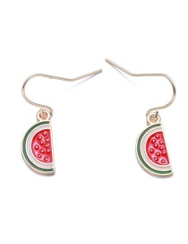 Lovely Red Watermelon Decorated Earrings