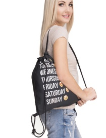 Fashion Black Expression Pattern Decorated Drawstring Backpack