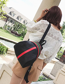 Fashion Black Color-matching Decorated Backpack