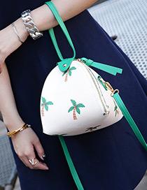 Elegant Beige Coconut Tree Pattern Decorated Lantern Bag