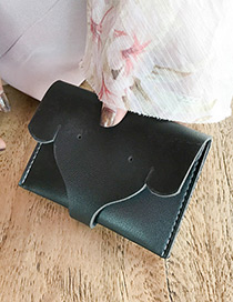 Lovely Black Elephant Shape Decorated Pure Color Wallet