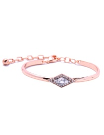Fashion White Diamond Decorated Rhombus Shape Pure Color Bracelet