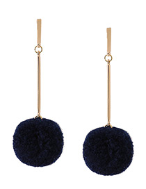 Fashion Gold Color+dark Blue Fuzzy Ball Decorated Pure Color Pom Earrings