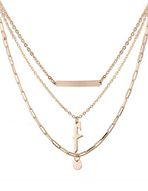 Fashion Gold Color Wafer Decorated Multi-layer Pure Color Necklace