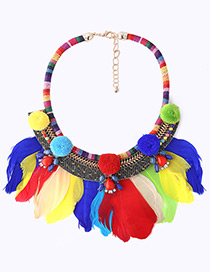 Fashion Multi-color Feather Decorated Color Matching Pom Necklace