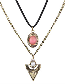 Fashion  Diamond Decorated Multi-layer Color Matching Necklace