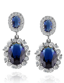 Fashion Sapphire Blue Diamond Decorated Pure Color Earrings