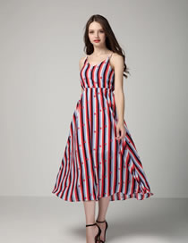 Fashion White+red Stripe Decorated Pure Color Sleeveless Dress