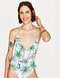 Fashion White Tree Pattern Decorated Pure Color Swimsuit
