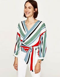 Fashion Multi-color Stripe Decorated Color Matching Long Sleeves Shirt