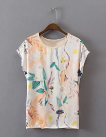 Fashion Beige Flower Pattern Decorated Color Matching Shirt